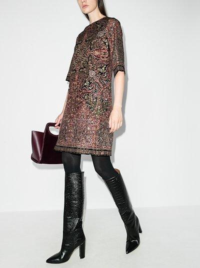 textured shift midi dress