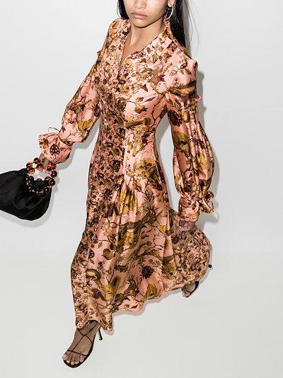 Love floral printed silk shirt dress