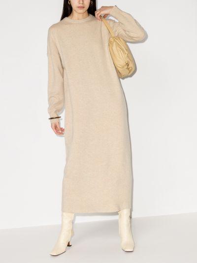crew neck cashmere midi dress