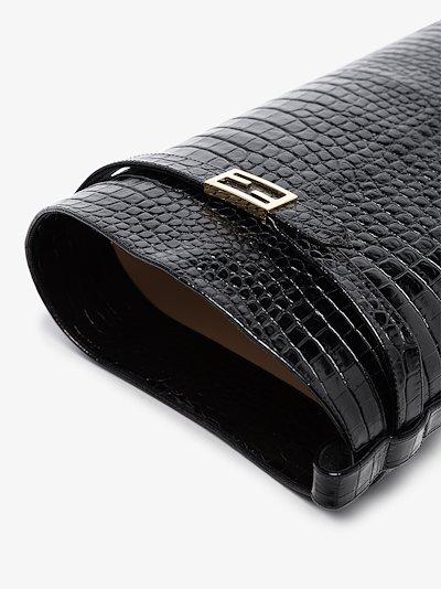 black 65 mock croc leather knee-high boots