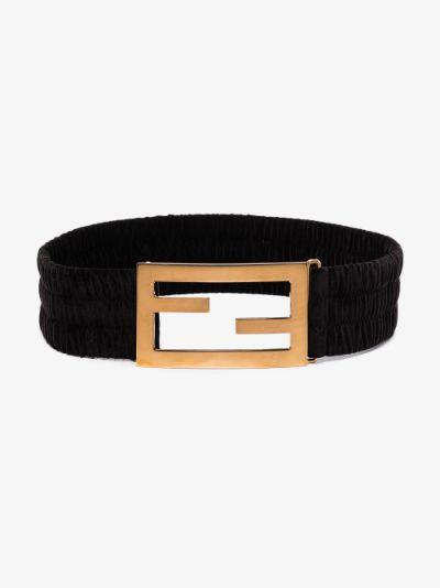 Black Baguette Maxi Logo Velvet Belt