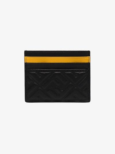 black embossed logo leather cardholder