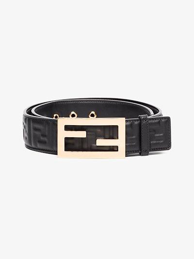 Black FF Baguette leather belt