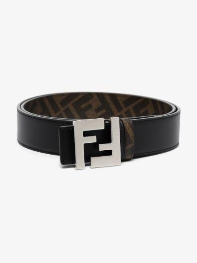 black FF buckle reversible leather belt