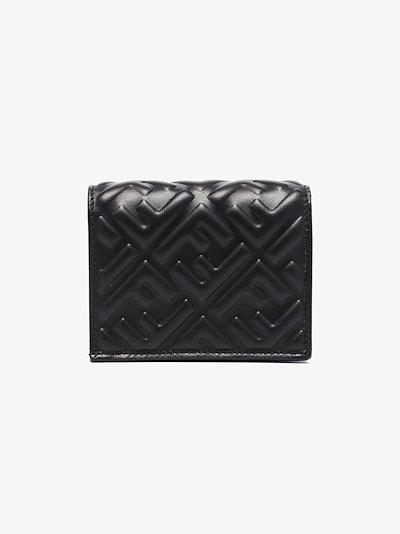 black FF embossed leather wallet