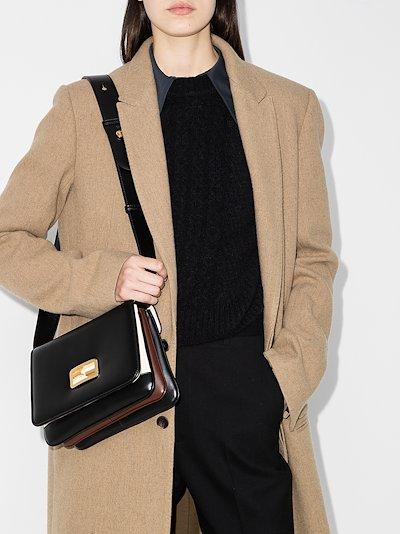 black ID medium leather shoulder bag