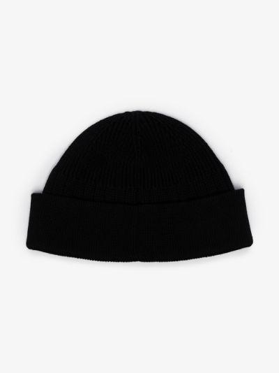 black intarsia logo beanie hat