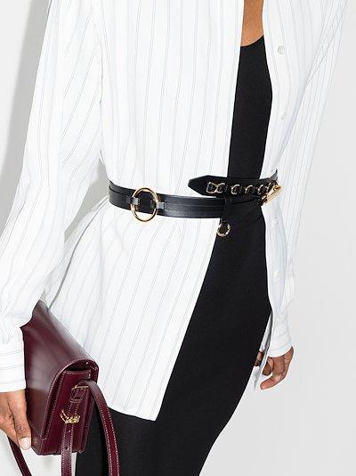 black ring leather belt