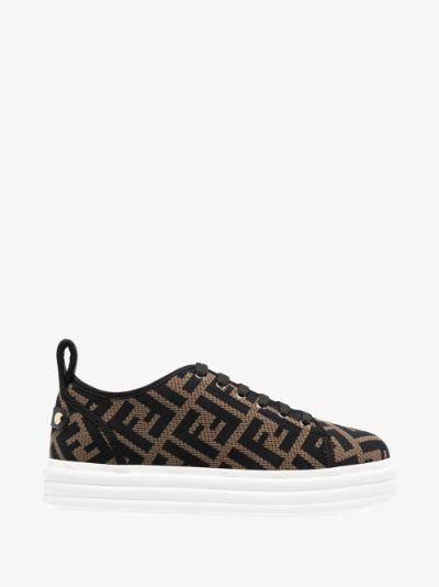 Brown FF Monogram sneakers