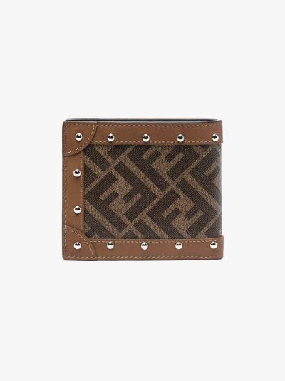 brown FF motif bifold wallet