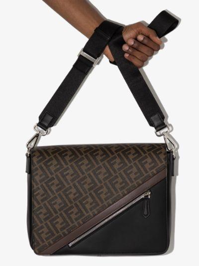 brown FF motif leather cross body bag