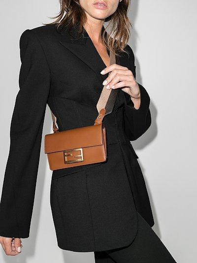 brown Flat Baguette leather mini bag