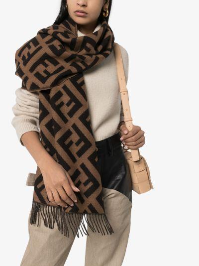 Brown jacquard knit FF logo scarf