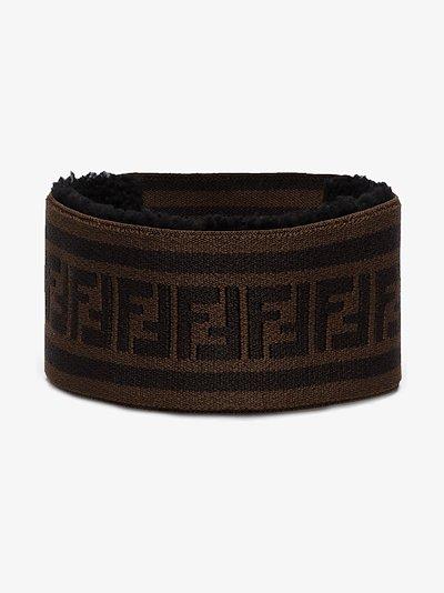 brown logo knitted ski headband