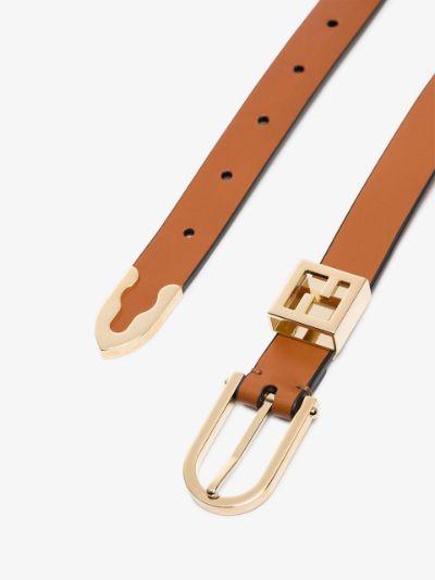 brown slim leather belt