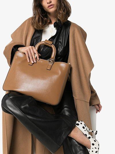 brown Twins medium leather tote bag