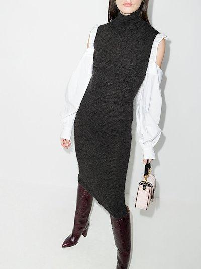 bustier embossed knit midi dress