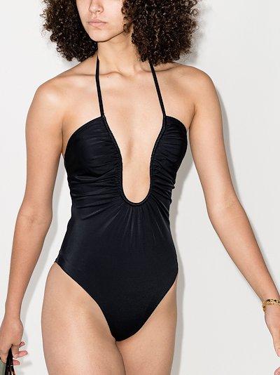 deep plunge neck swimsuit