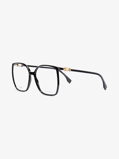 Black oversized round optical glasses