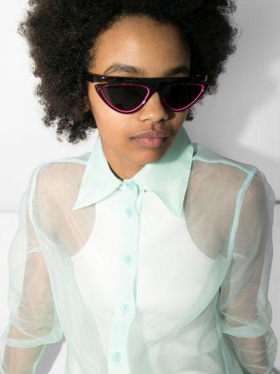 brown FF print cat eye sunglasses