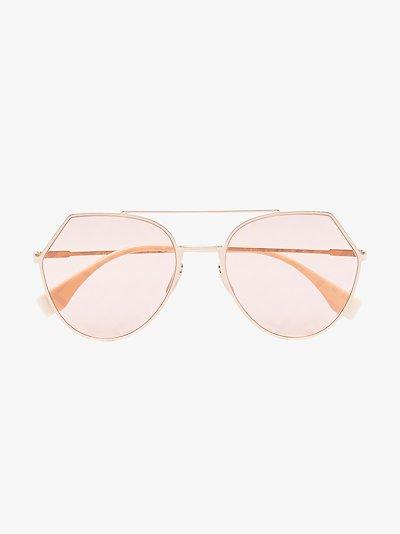 Pink angular aviator sunglasses