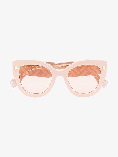 Pink FF logo round sunglasses