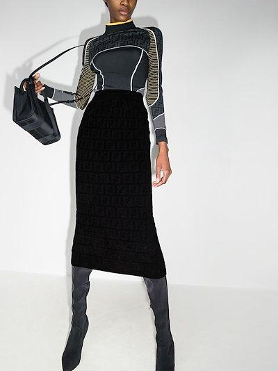 FF logo stretch knit midi skirt