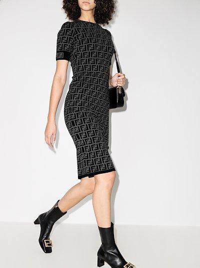 FF motif fitted midi dress