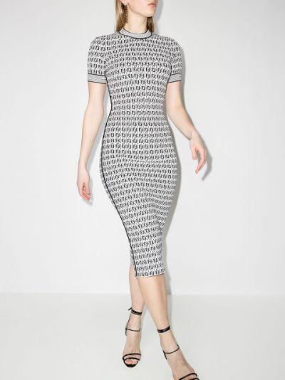 FF-motif midi sheath dress
