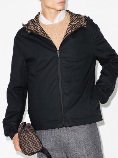 FF-motif reversible hooded jacket
