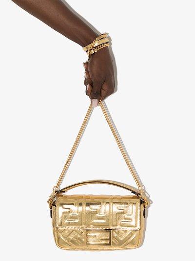 gold baguette leather mini bag