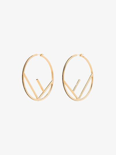 gold tone F is Fendi hoop earrings