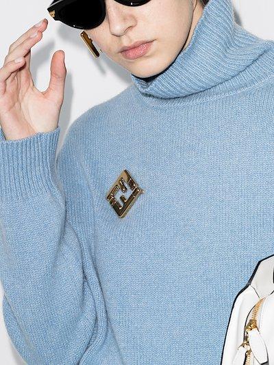 gold tone FF logo brooch