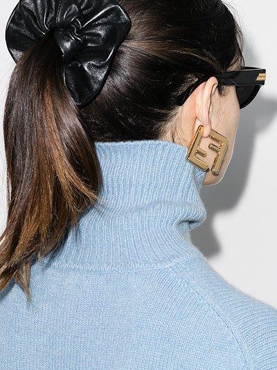 gold tone FF logo earrings
