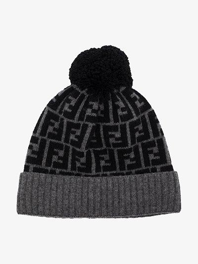 grey FF logo wool beanie hat