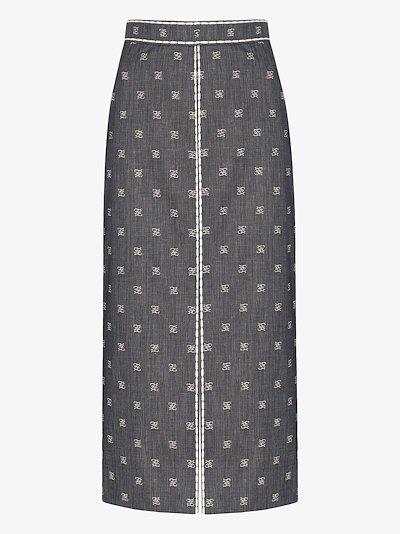 Karligraphy denim pencil skirt