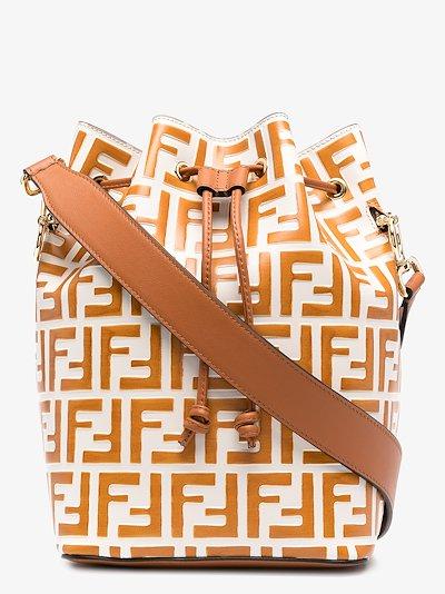 orange and white Mon Tresor leather bucket bag