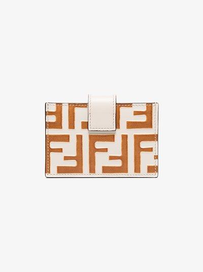 orange FF embossed leather card holder