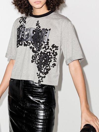 paisley animal print and logo T-shirt