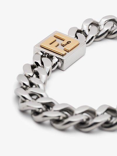 Silver Tone Logo Chunky Chain Bracelet