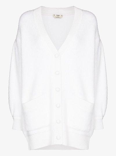 V-neck bishop-sleeve cardigan