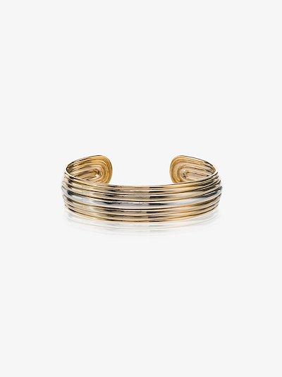 18K yellow gold Grooved buffalo horn cuff bracelet