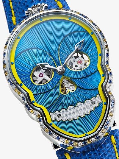 blue Petit Skull sapphire diamond watch