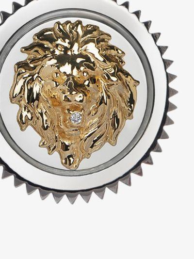 18K white and yellow gold Strength medium diamond medallion charm