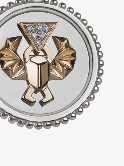 18K white gold Protection medium diamond medallion charm