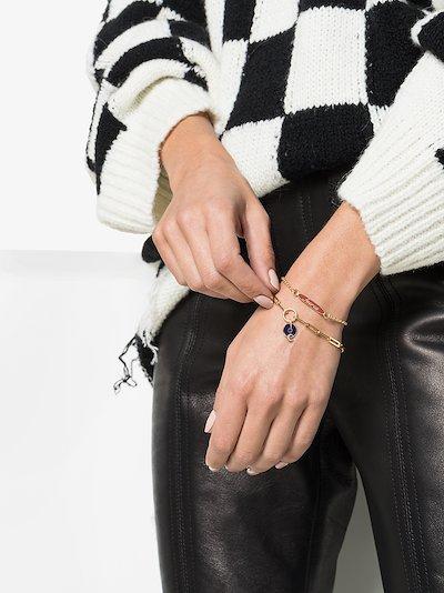 18K yellow gold Blue Crescent classic fob clip chain diamond bracelet