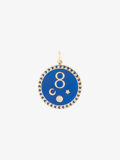 18K yellow gold Blue Karma petite diamond medallion charm