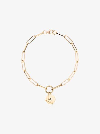 18K yellow gold classic fob clip chain diamond bracelet