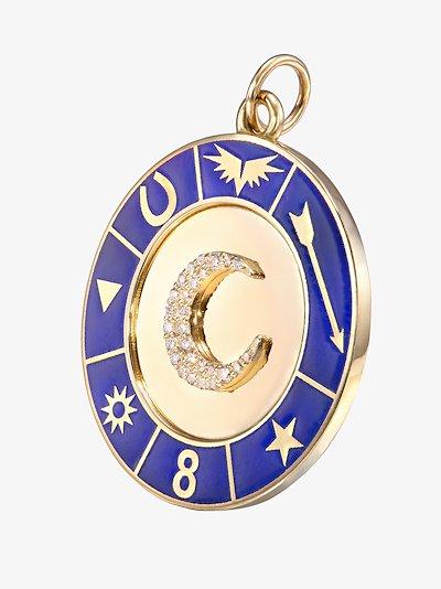 18K yellow gold Crescent Symbol Wheel diamond charm