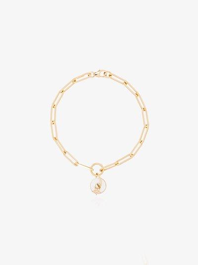 18K yellow gold disc star pendant bracelet